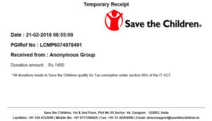 Donation Provider Name - Jordi Braut(Germany)-Donated Country - India -Website - savethechildren.in
